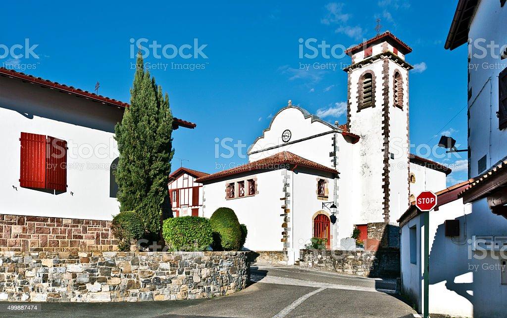 Saint-Jacques-le-Majeur Church in Souraide village stock photo