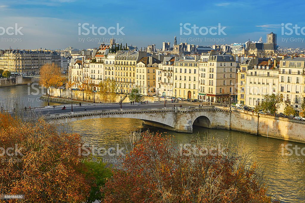Saint-Louis island on a bright fall day in Paris stock photo