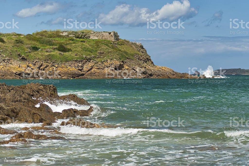 Saint-Malo, France, rock, surf royalty-free stock photo