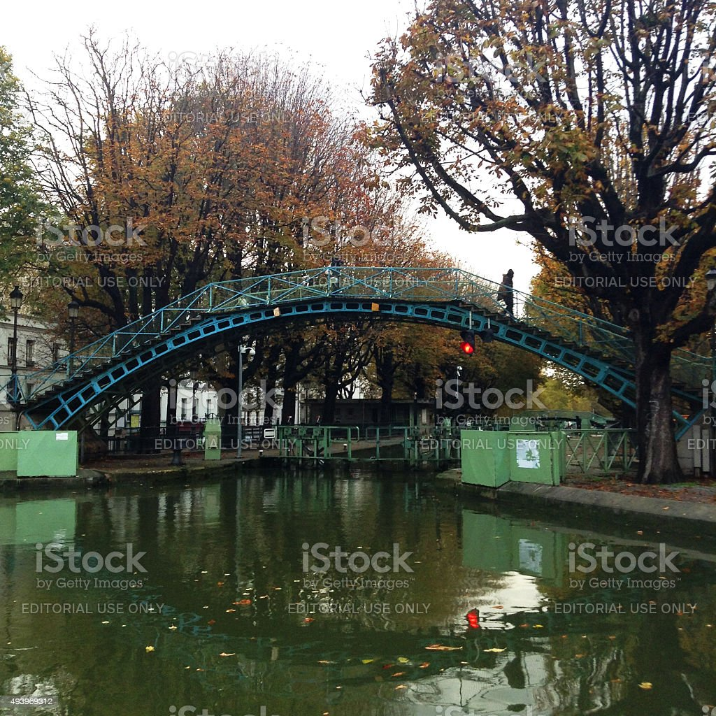 Saint-Martin channel in Paris stock photo