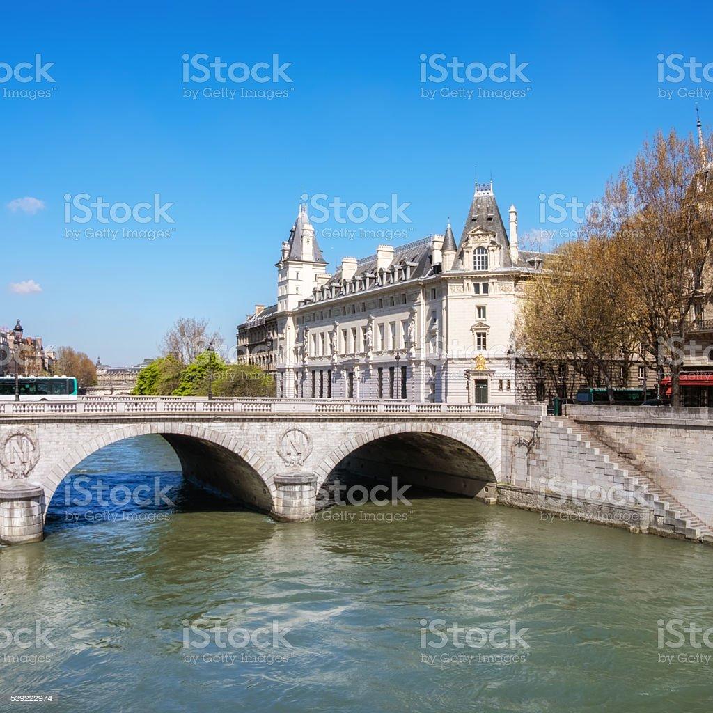 Saint-Michel bridge in Paris stock photo