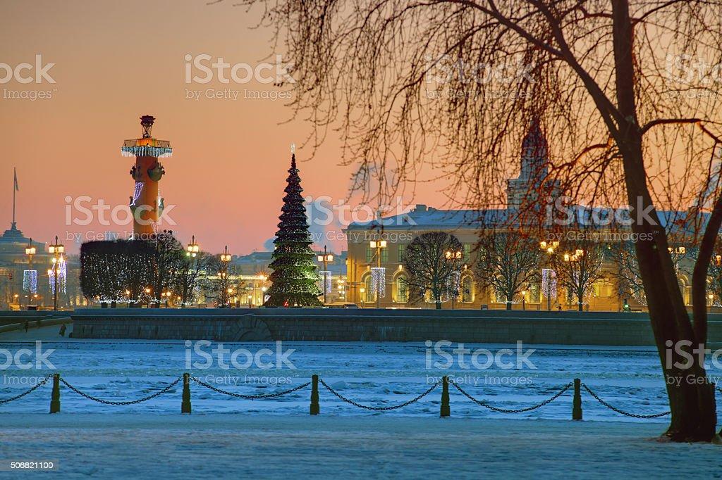 Saint-Petersburg, Russia Christmas decorations on Vasilyevsky Island, near rostral column. stock photo