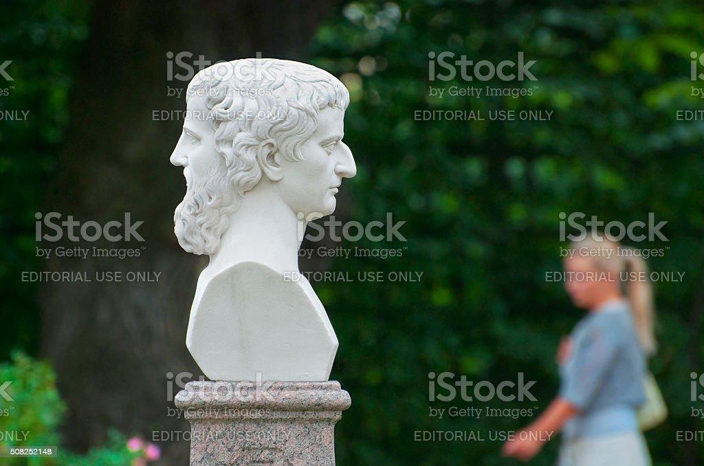 Saint-Petersburg. Russia. Girl in The Summer Garden stock photo