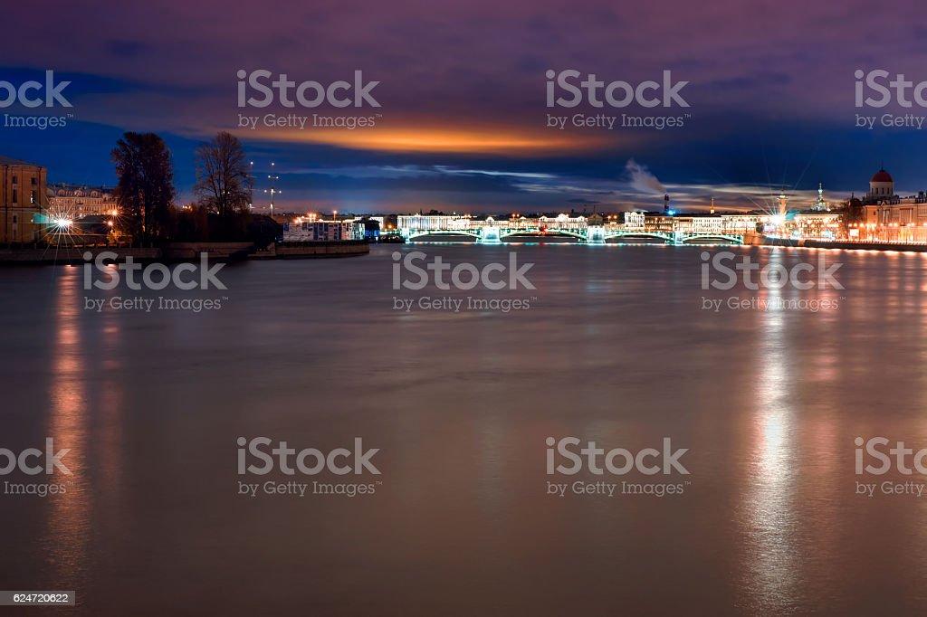Saint-Petersburg, Russia illuminated night view stock photo