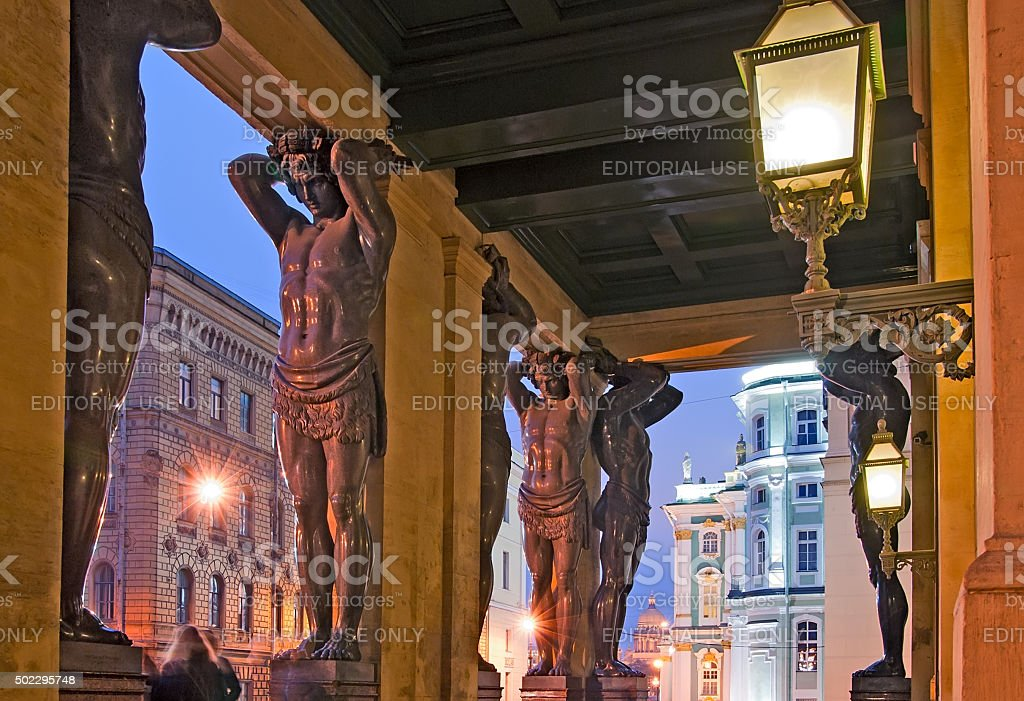 Saint-Petersburg. Russia. Night view of The New Hermitage Portico stock photo