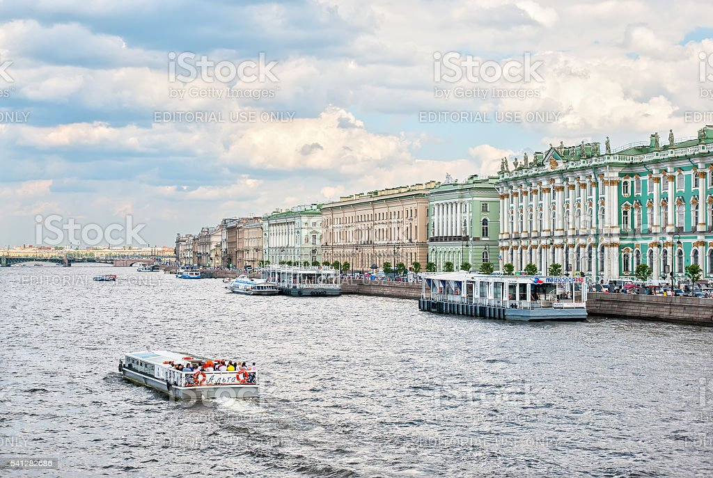Saint-Petersburg. Russia. People in the excursion boat stock photo