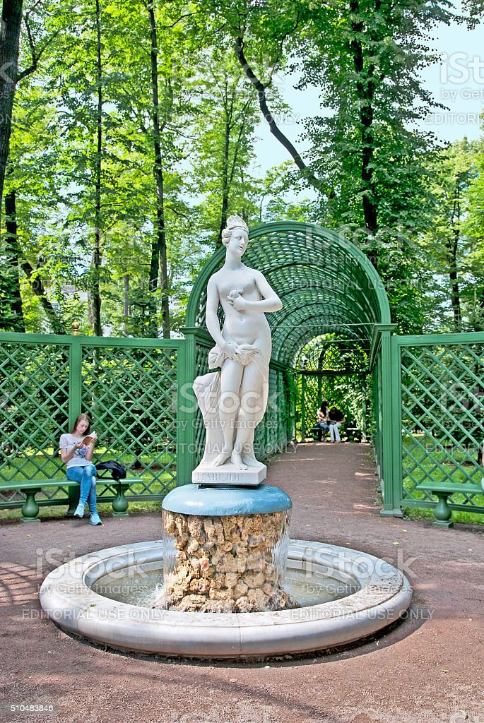 Saint-Petersburg. Russia. People in The Summer Garden stock photo