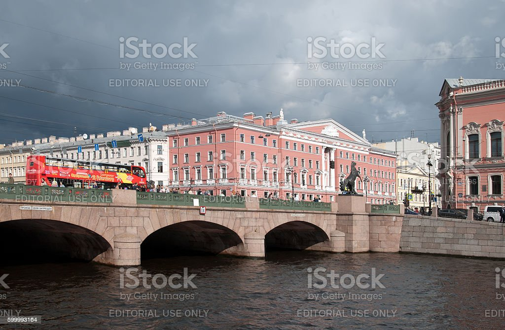 Saint-Petersburg, Russia. People on The Anichkov Bridge stock photo