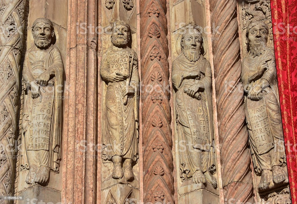 Saints and Prophets from Verona Cathedral portal stock photo