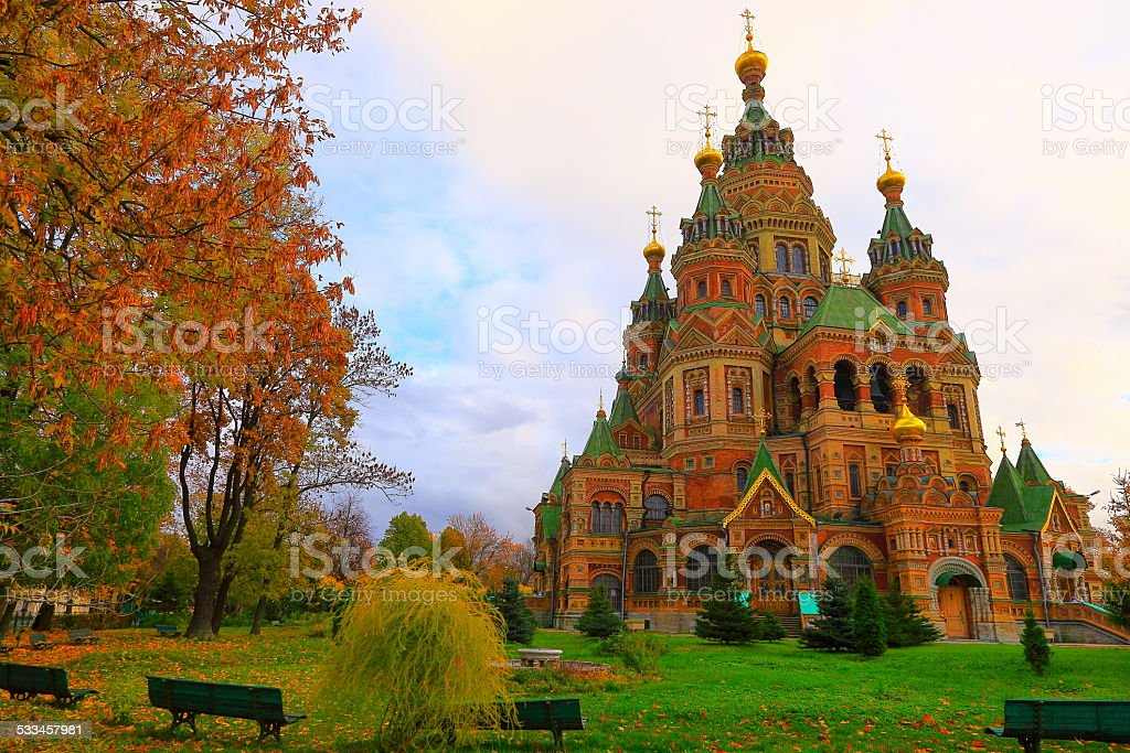Saints. Peter and Paul Cathedral in Peterhof city, Russia stock photo
