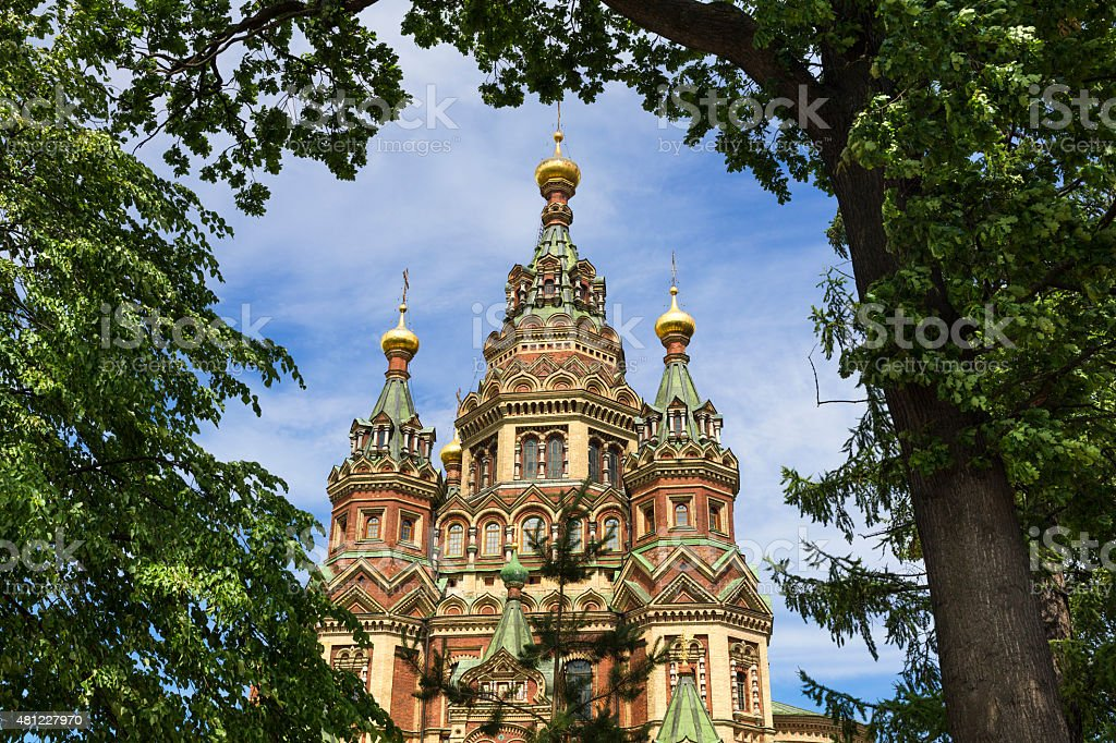 Saints Peter and Paul Cathedral, Peterhof stock photo