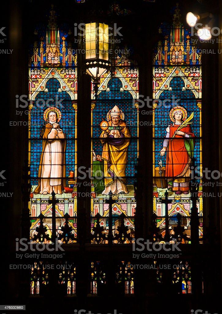 Saints Stained Glass Long St. Patrick's Cathedral New York City stock photo