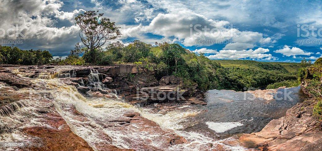 Sakaika waterfall or Salto Sakaika. La Gran Sabana Venezuela stock photo