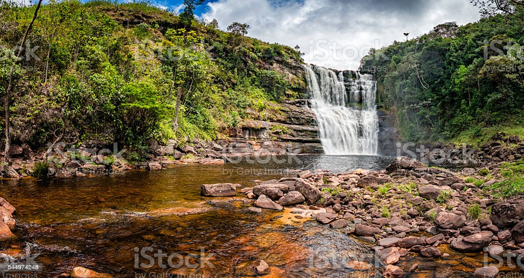Sakaika waterfall or Salto Sakaika. La Gran Sabana Venezuela stock photo