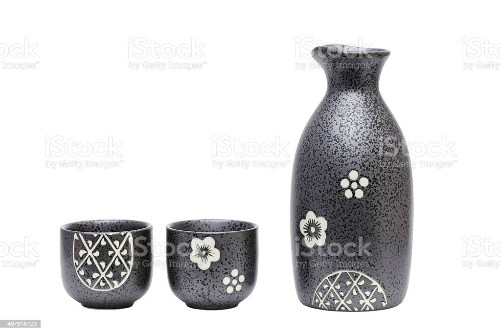 Sake bottle and cups stock photo