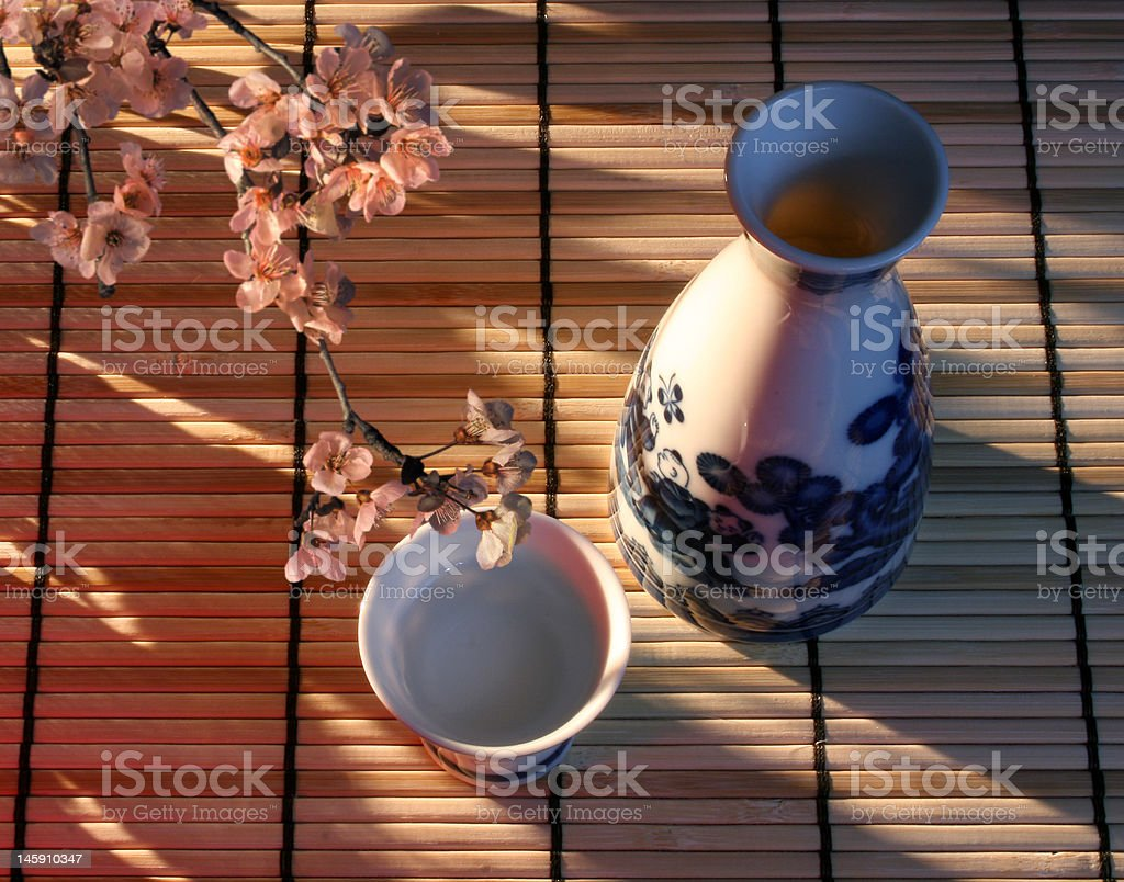 Sake in Late Afternoon Sun stock photo