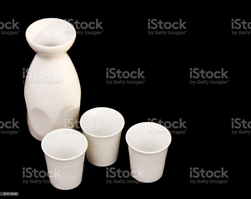 Sake jug and cups royalty-free stock photo