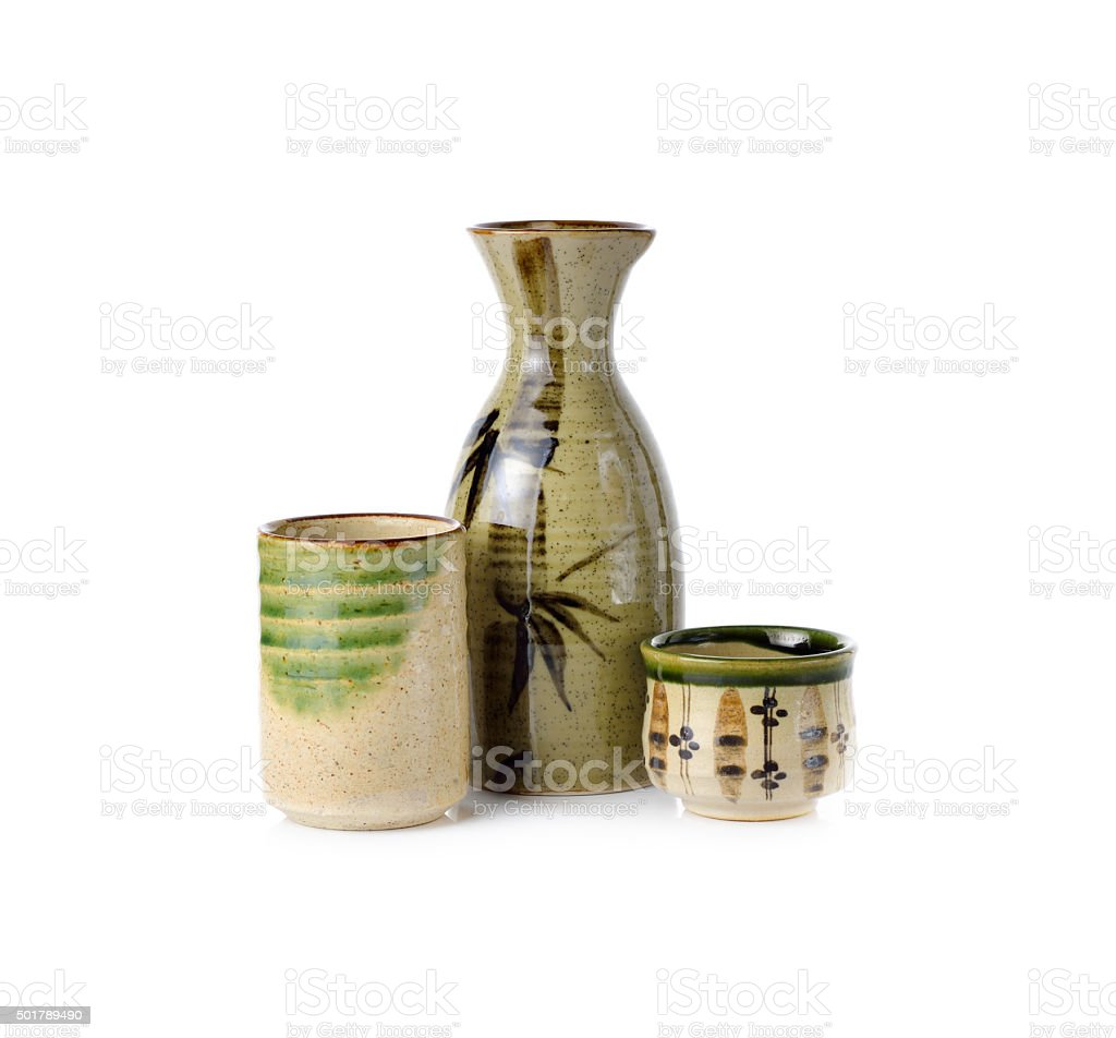 sake set bottle and cup on white background stock photo