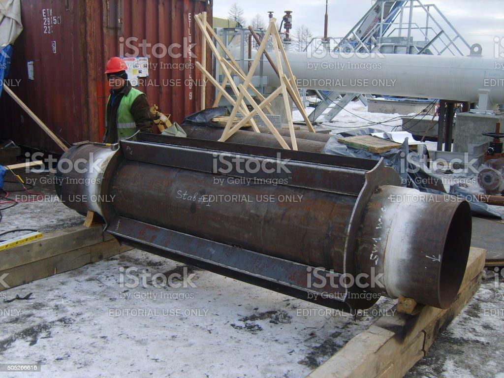 Sakhalin, Russia - 12 November 2014: Welding of dyuker in stock photo