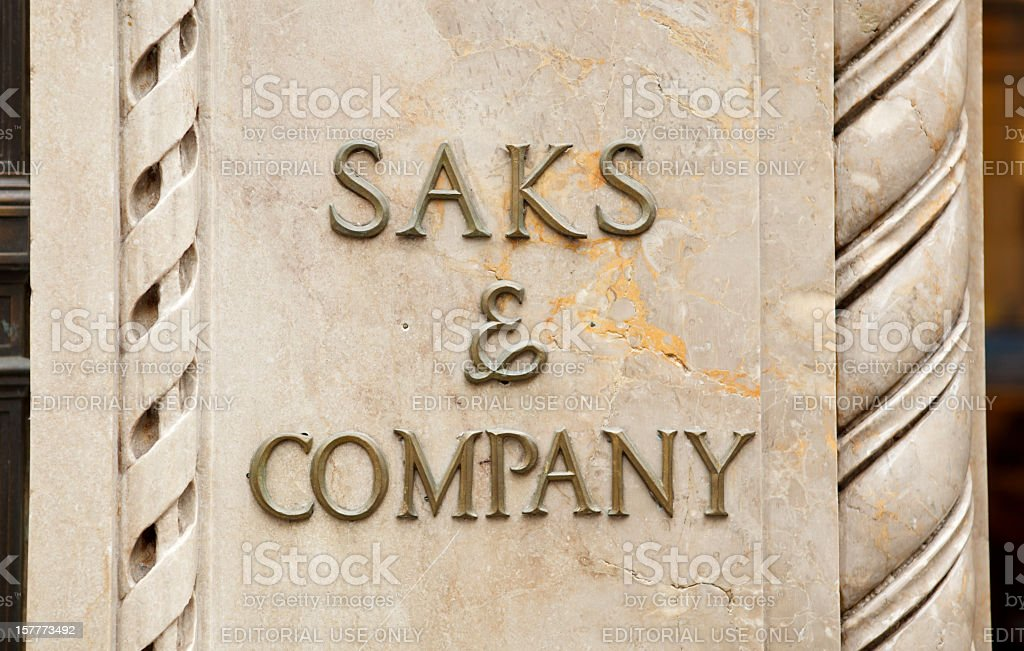 Saks Fifth Avenue Sign stock photo