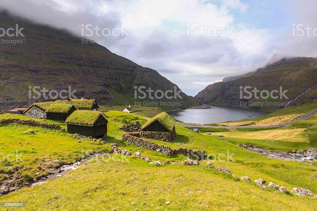 Saksun picturesque village of  Streymoy .Faroe Islands stock photo
