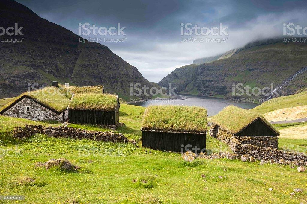 Saksun picturesque village of Streymoy. Faroe Islands. stock photo
