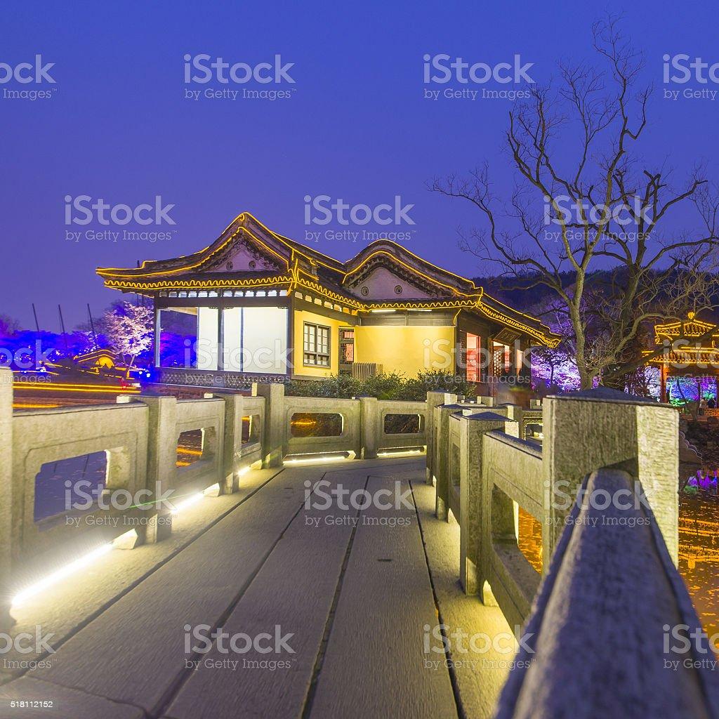Sakura night ancient architecture stock photo