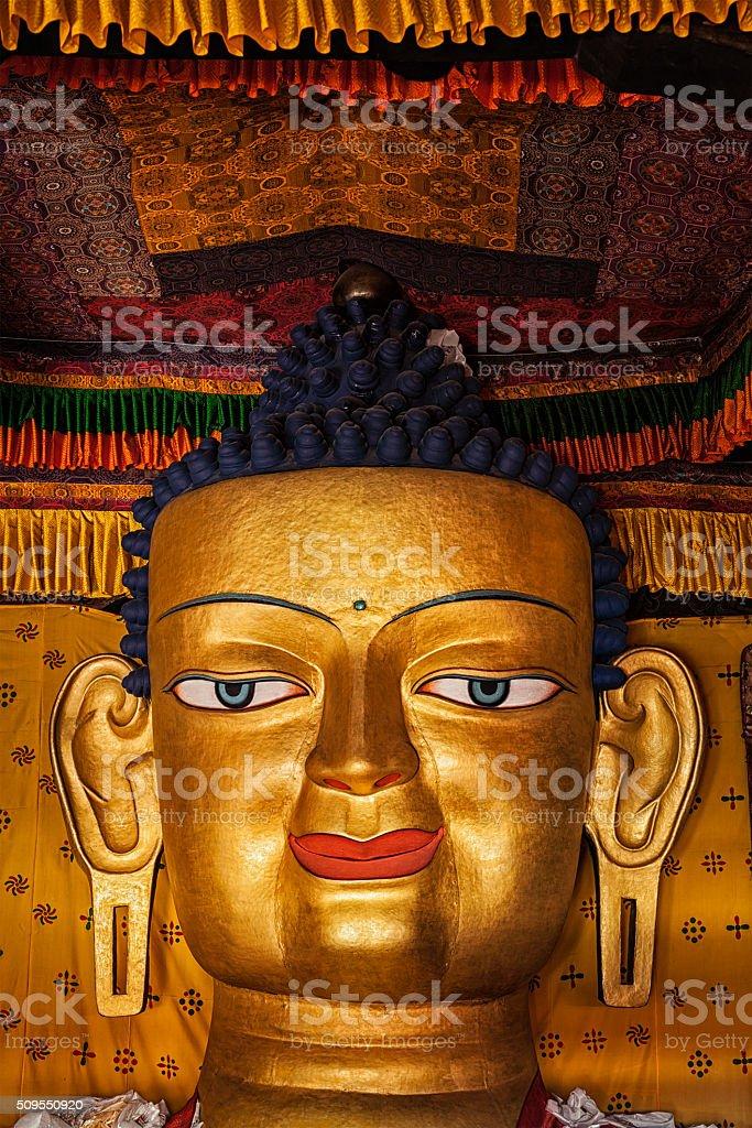 Sakyamuni Buddha statue face close up stock photo