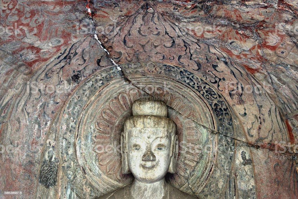Sakyamuni image in Middle Binyang Cave, Longmen Grottoes, Luoyang, Henan stock photo