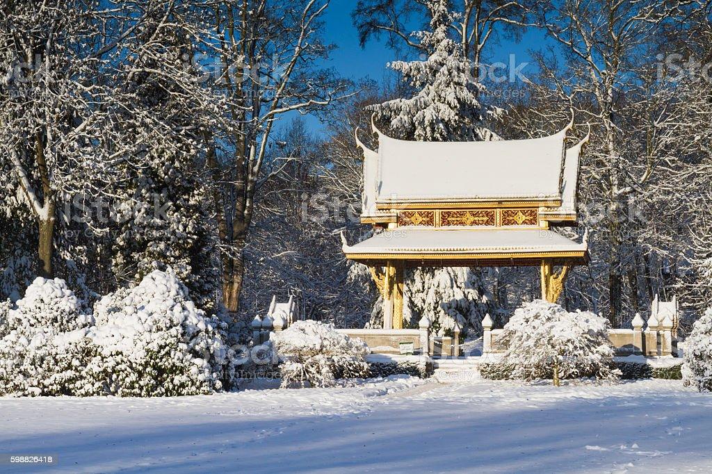 Sala Thai Pavillion in the snow stock photo
