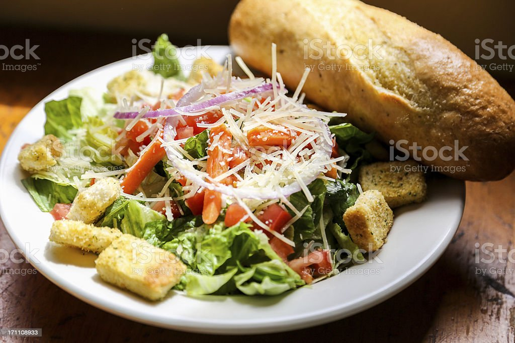 Salad and Bread royalty-free stock photo