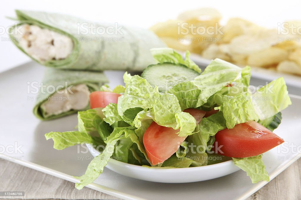salad and chicken wrap royalty-free stock photo
