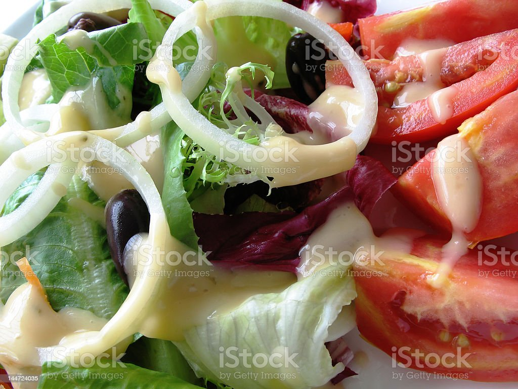 salad and dressing extreme close up royalty-free stock photo