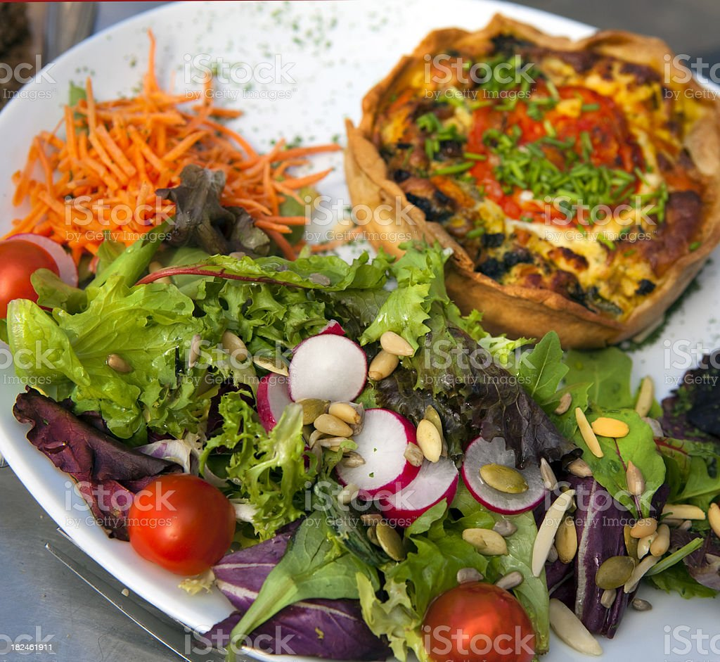 Salad and Quiche on Plate royalty-free stock photo