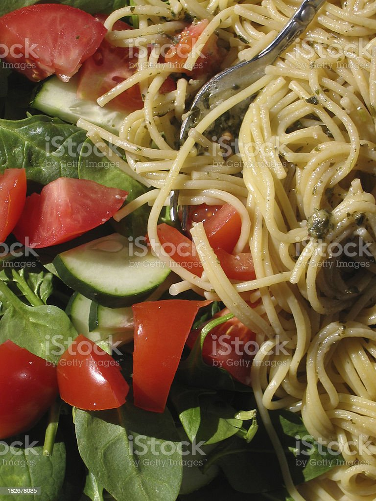 Salad and Spaghetti royalty-free stock photo