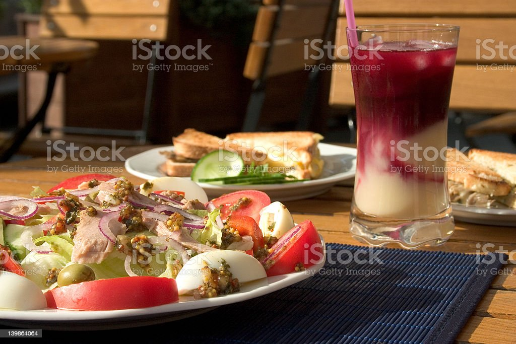 Salad and toasts royalty-free stock photo