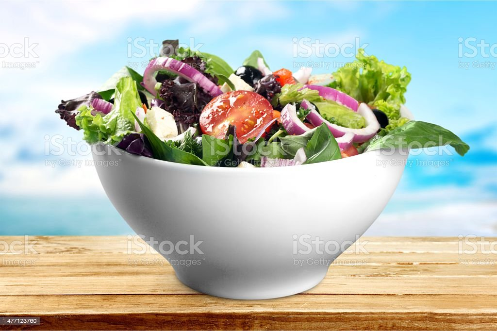 Salad, bowl, grilled stock photo