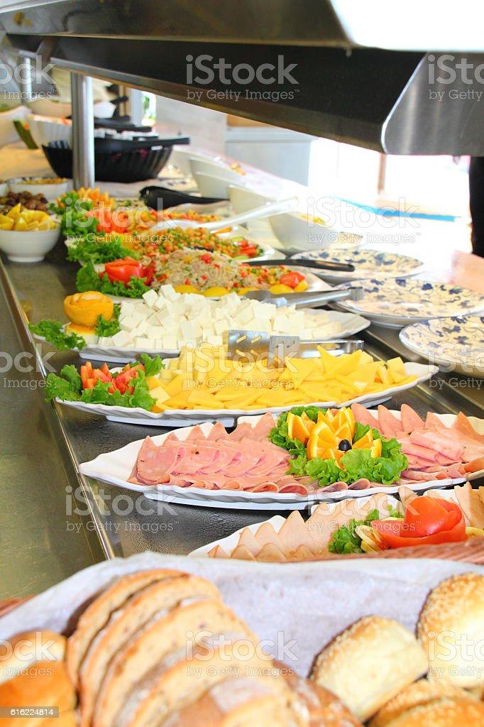 salad buffet on a cruise ship restaurant stock photo