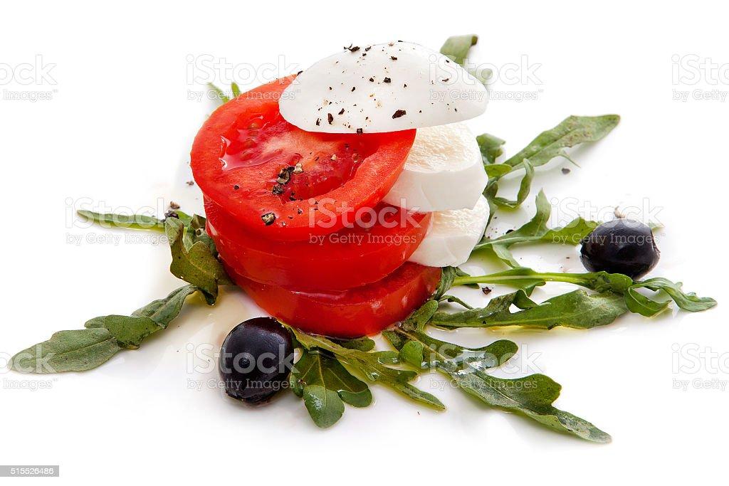 Salad caprese white background stock photo