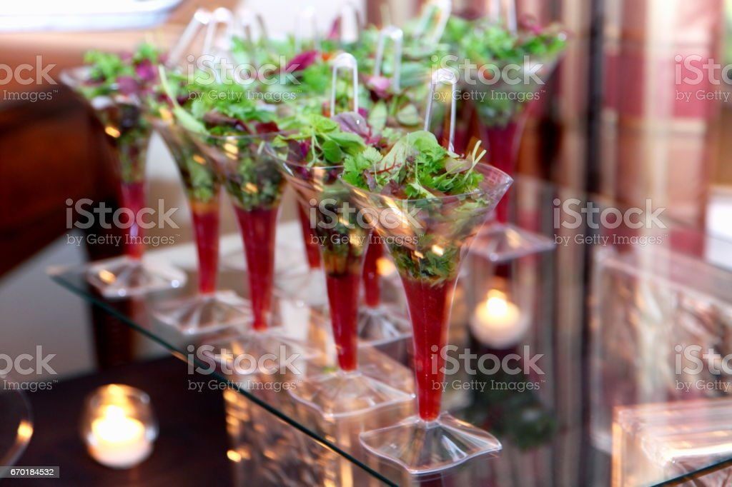 Salad cocktail. Flute, mixed greens. stock photo