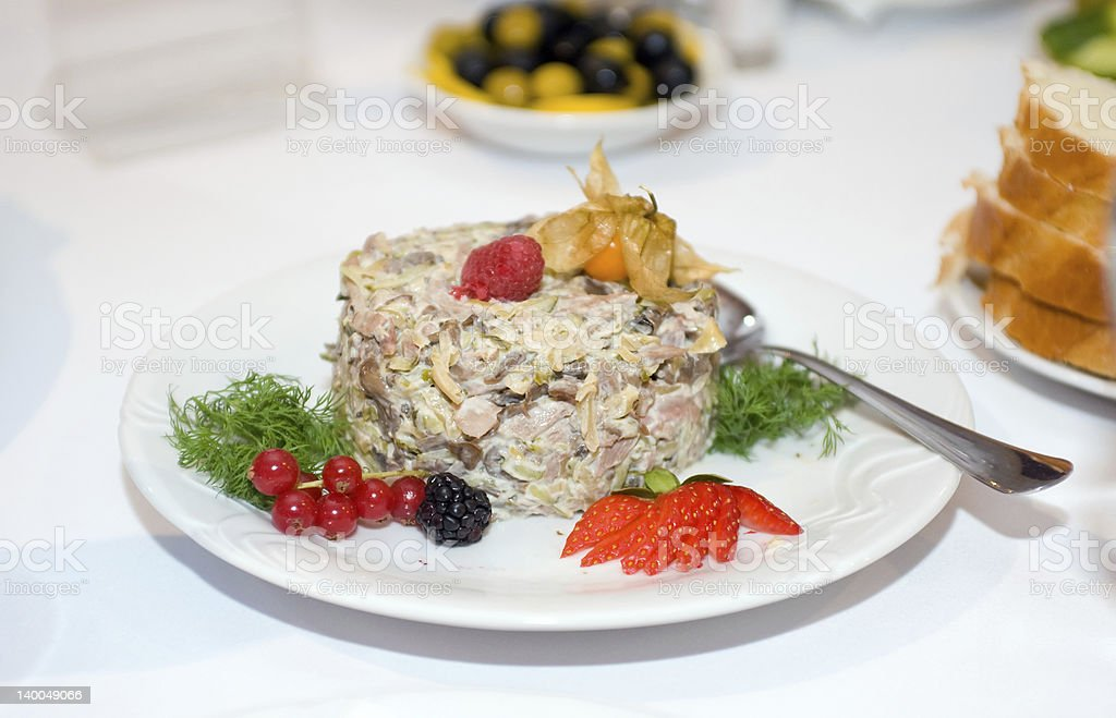 salad decorated with berries royalty-free stock photo