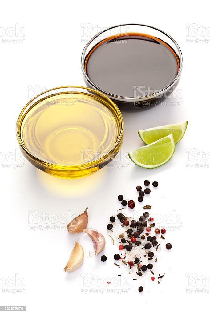 Salad derssing: Vinaigrette ingredients stock photo