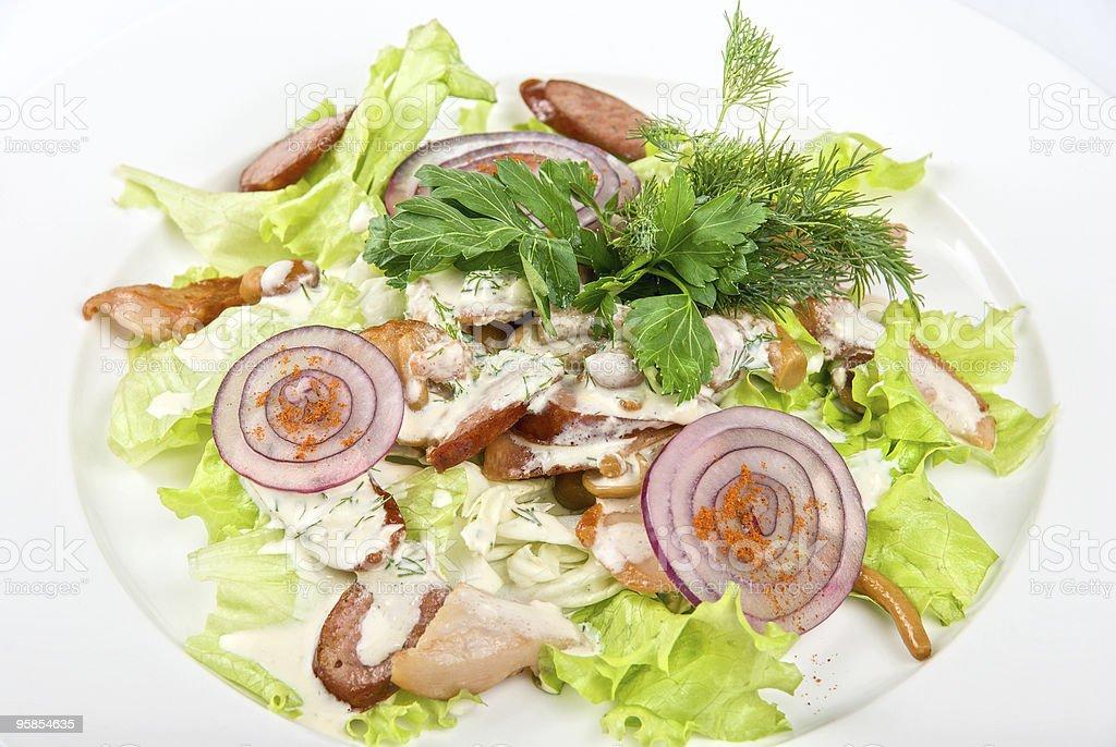 salad dish with sausage stock photo