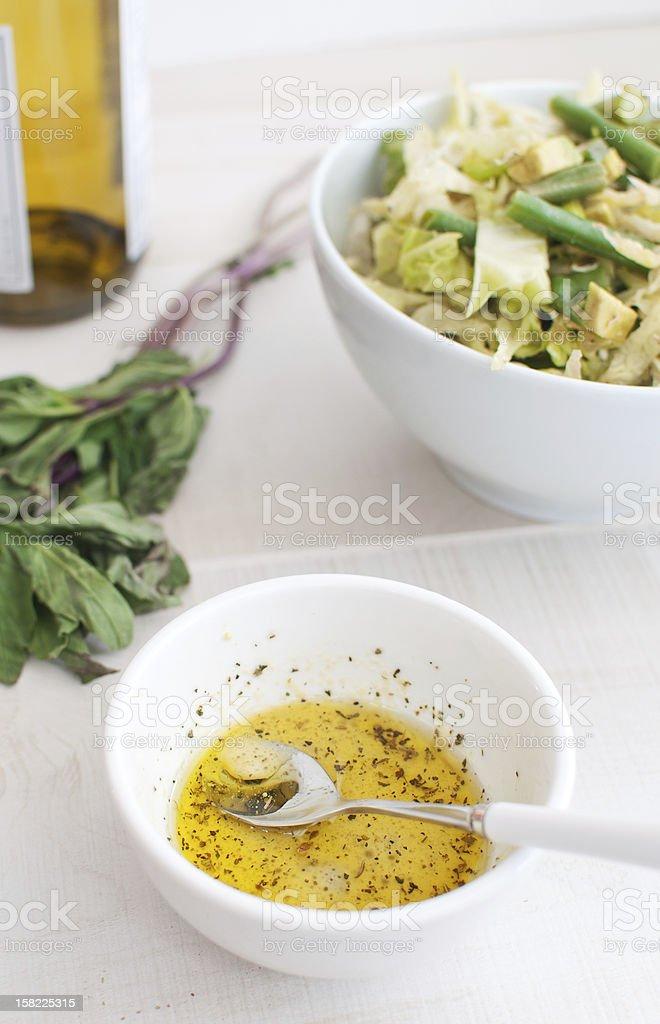 Salad dressing making stock photo