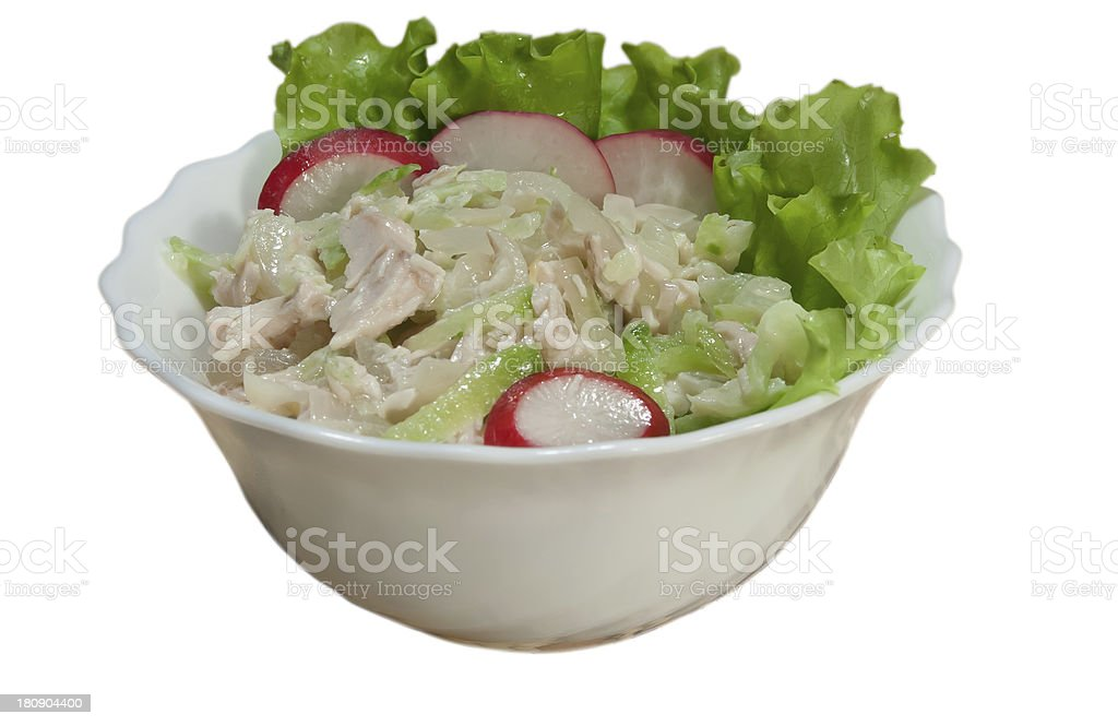 salad from chicken, a green radish royalty-free stock photo