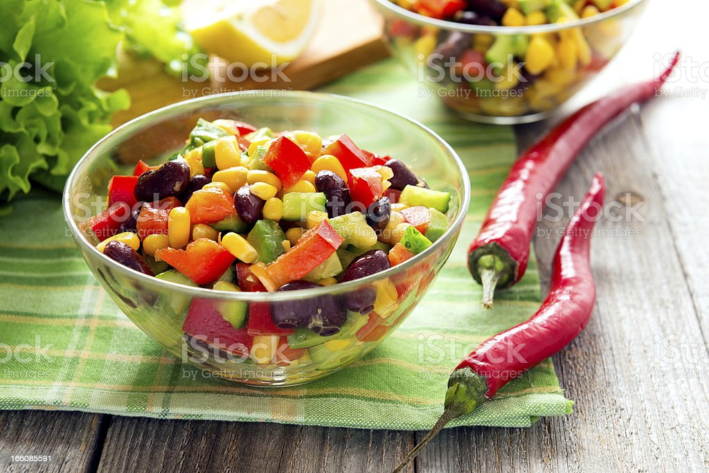 Salad from kidney bean, hot and sweet peppers royalty-free stock photo