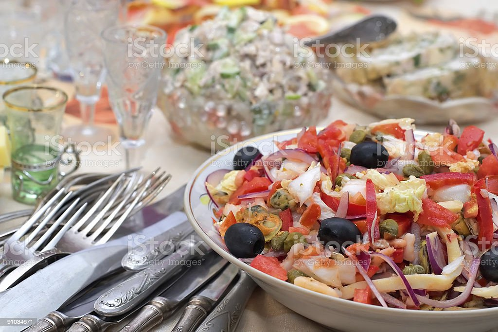 Salad from seafoods with olives and vegetables royalty-free stock photo