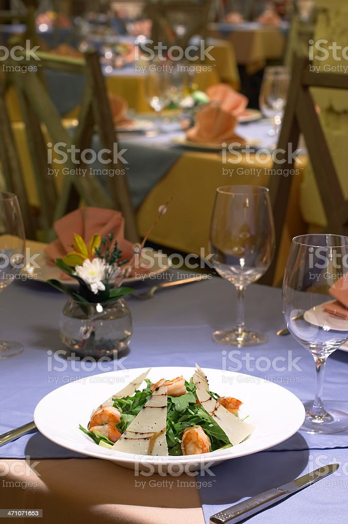 Salad from shrimps stock photo