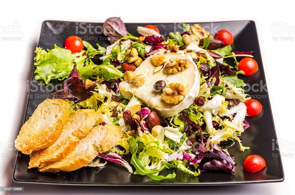salad gourmet goat cheese isolated white black dish stock photo