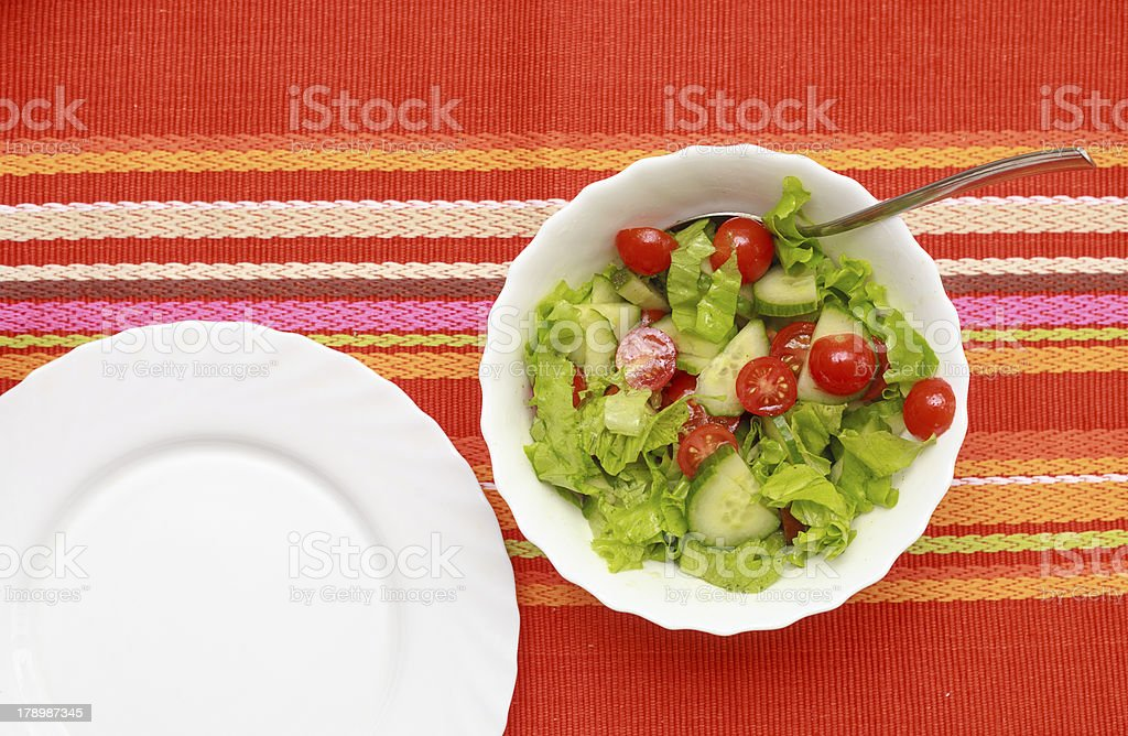 Salad In A White Bowl royalty-free stock photo